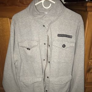 Men's North Face Gray zip/button up sweater